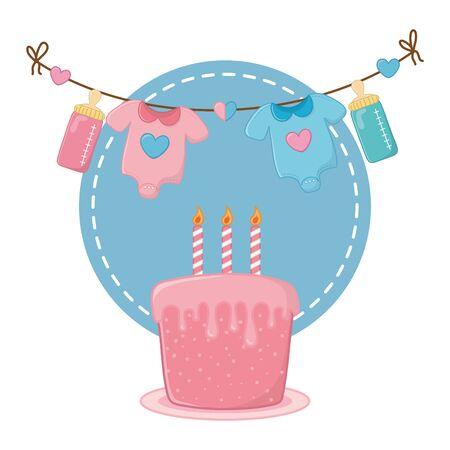 round frame with cake Ilustrace