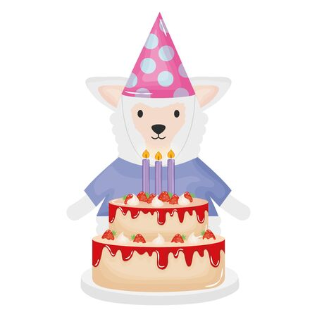 cute sheep with sweet cake in birthday party vector illustration design Stock Vector - 133001419
