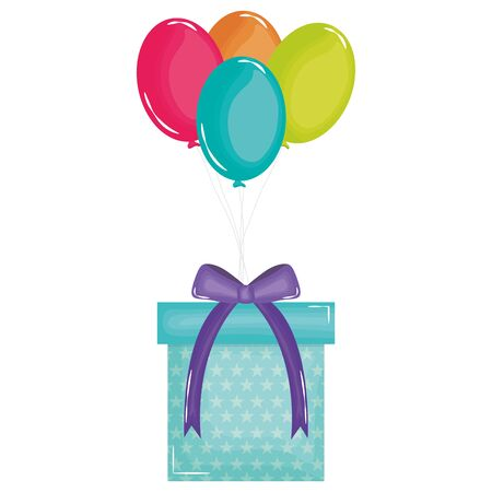 gift box with balloons air floating 스톡 콘텐츠 - 133556477