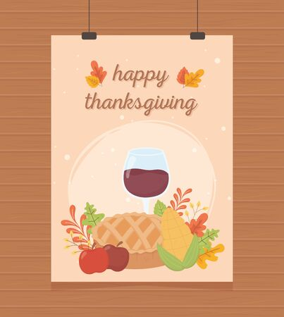 happy thanksgiving poster hanging pie wine glass acorn corn