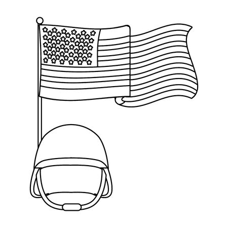 united state flag with military helmet black and white