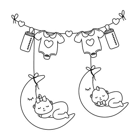 babys sleeping over the moon in black and white Ilustrace