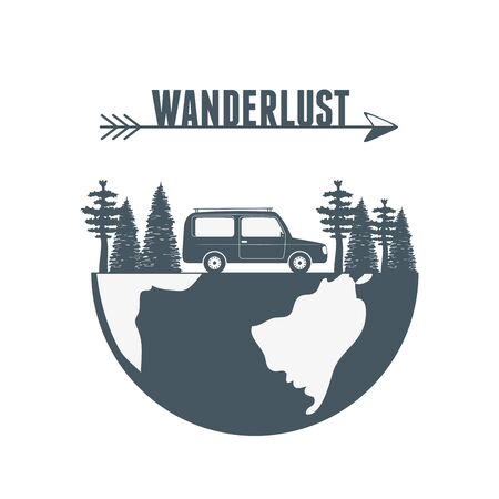 wanderlust label with forest scene and car vehicle Reklamní fotografie - 133002349