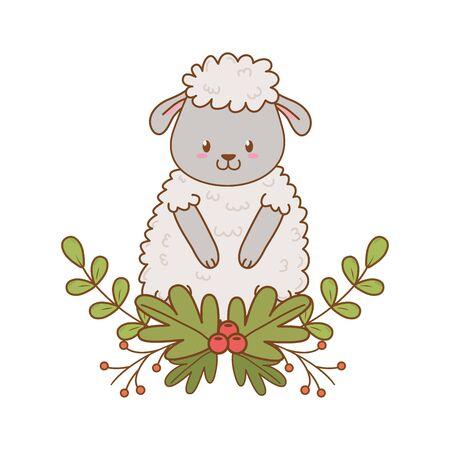 cute sheep woodland character Illustration