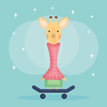 cute female giraffe in skateboard character