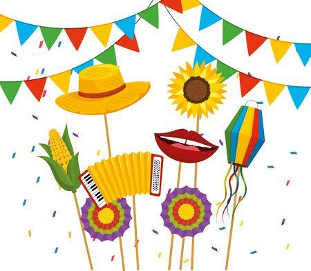 bannière de fête avec chapeau et fleurs à festa junina