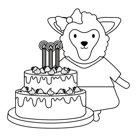 cute sheep with sweet cake in birthday party Stock Vector - 133059687