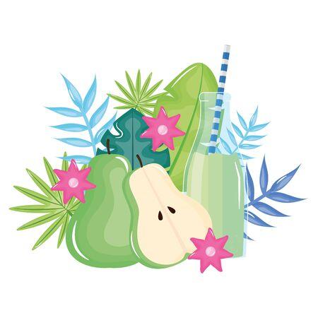 fresh pear half juice fruit in botttle with straw in floral decoration Standard-Bild - 133059353