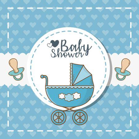 baby shower card with blue cart Ilustración de vector