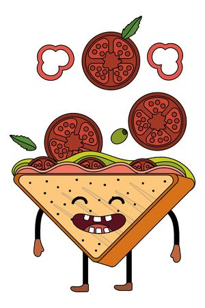 delicious tasty sandwich cartoon Ilustracja