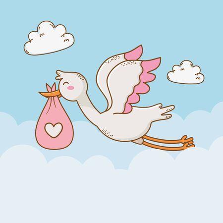 Babypartykarte mit Storchvektorillustrationsentwurf