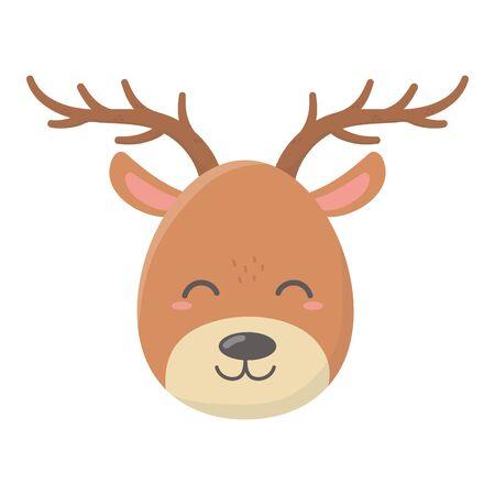 reindeer face celebration merry christmas vector illustration