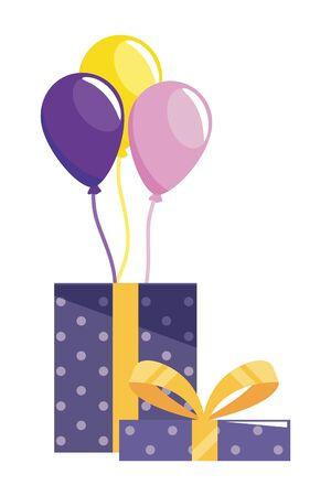 Gift design, happy birthday celebration decoration party festive and surprise theme Vector illustration 일러스트