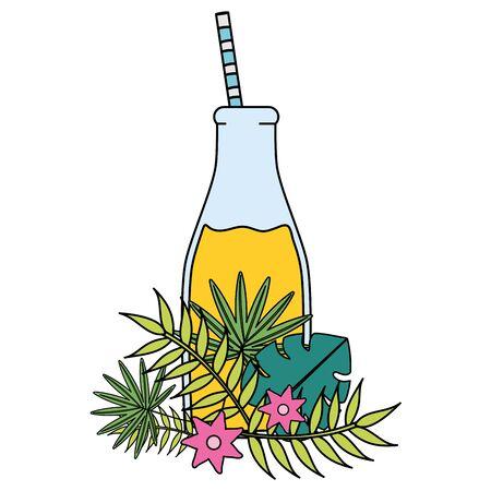 fresh juice fruit in botttle with straw in floral decoration vector illustration design Standard-Bild - 133060801