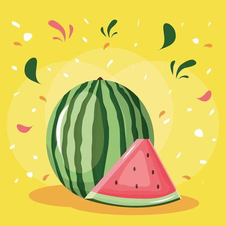 fresh watermelon fruit with confetti splash vector illustration design Standard-Bild - 133060803
