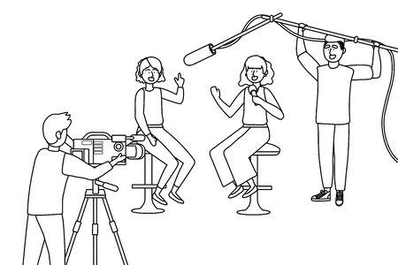Broadcasting reportage design, News media communication journalism information and digital theme Vector illustration 版權商用圖片 - 133060915