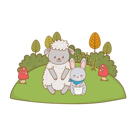 cute sheep and rabbit in the field vector illustration design Illustration