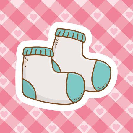 cute baby shower element socks cartoon vector illustration graphic design Ilustracja