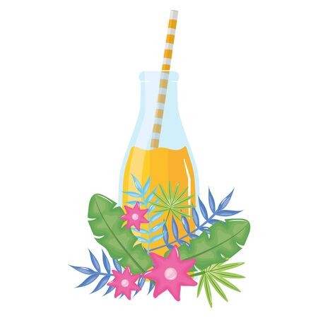 fresh juice fruit in botttle with straw in floral decoration vector illustration design Standard-Bild - 133061208