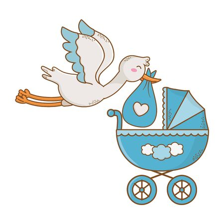 cute baby shower stork holding baby bag with carriage cartoon vector illustration graphic design