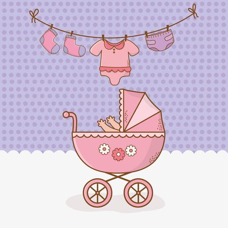 baby shower card with pink cart vector illustration design