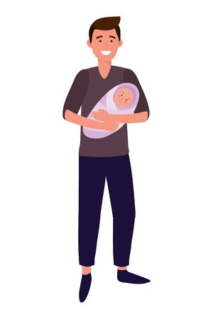 man carrying baby avatar cartoon character vector illustration graphic design