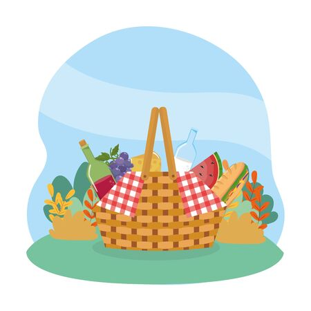 hamper with wine and milk bottle with grapes and cheese to picnic relaxation vector illustration