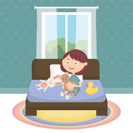 little girl playing with toys in the room vector illustration design