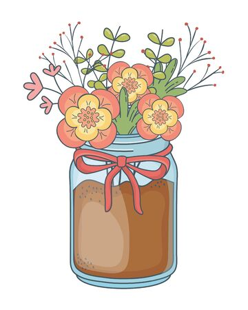 beautiful nature flowers inside decoration mason jar bottle plant pot cartoon vector illustration graphic design Stock Illustratie