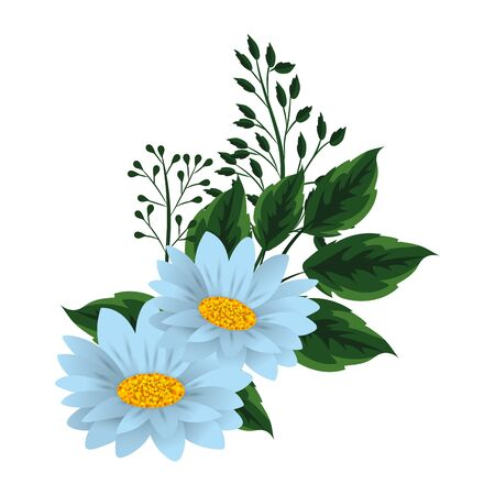 floral tropical flowers cartoon vector illustration graphic design