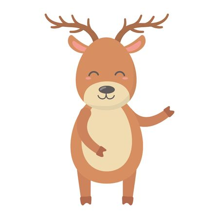 reindeer big horns celebration merry christmas vector illustration Stock Illustratie