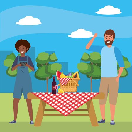Millennial couple date picnic cloth background nature trees cityscape food cooking overall afro bearded vector illustration graphic design