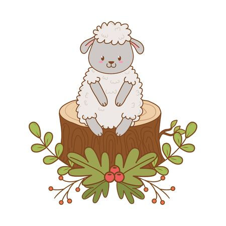 cute sheep in trunk woodland character
