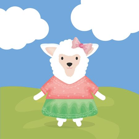 cute female sheep with clothes character Illustration