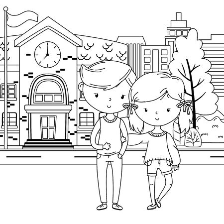 Teenager boy and girl cartoon design