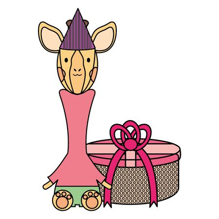 cute giraffe with gift box in birthday party vector illustration design