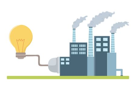 Factory and icon set design, Eco city save planet think green and recycle theme Vector illustration