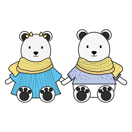cute polar bears couple childish characters Illustration