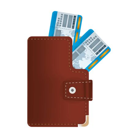 travel tickets inside elegant wallet object Illusztráció