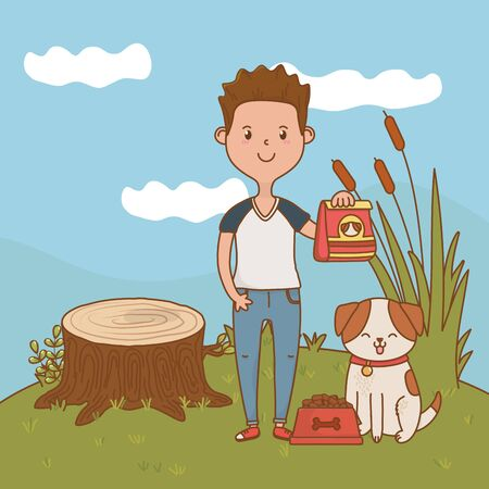 childhood happy child boy with little animal pet at outdoor scene cartoon vector illustration graphic design