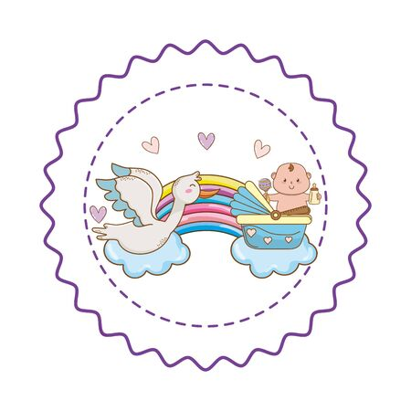 Baby shower stork flying between clouds and baby in basket with maraca and bottle on cloud and rainbow with hearts cartoons in round label stamp vector illustration graphic design.