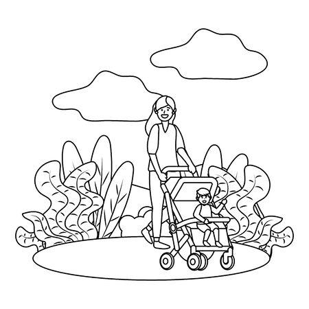 mother with baby carriage Illusztráció