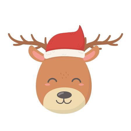 reindeer with hat celebration merry christmas Ilustrace