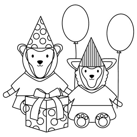monley and sheep with gift and balloons helium in birthday party Stock Vector - 133109488