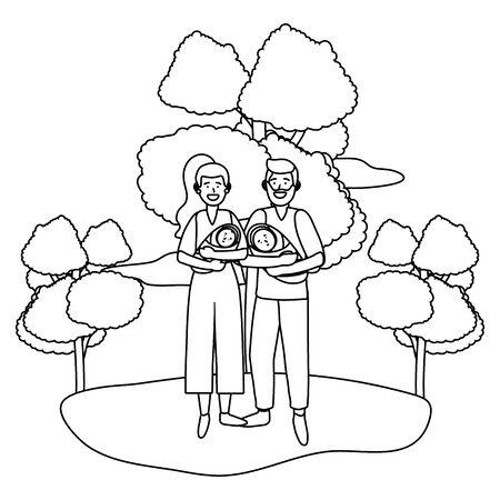 couple carrying babys black and white Illusztráció