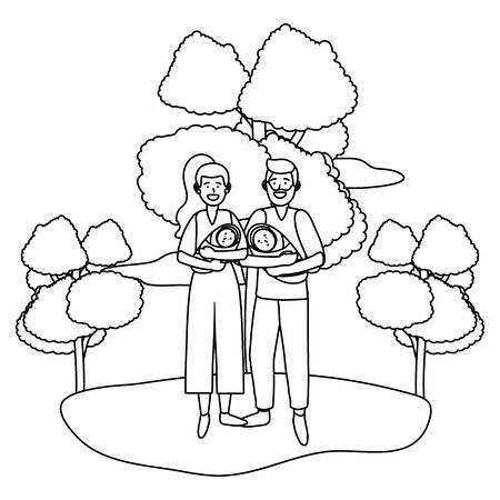 couple carrying babys black and white Illustration
