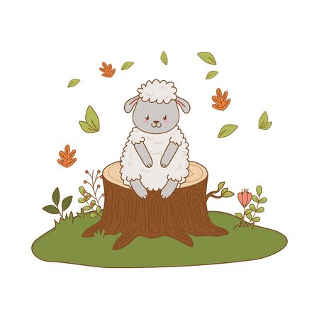 cute sheep in the field woodland character