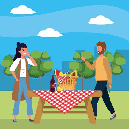 Millennial couple date picnic background Ilustracja