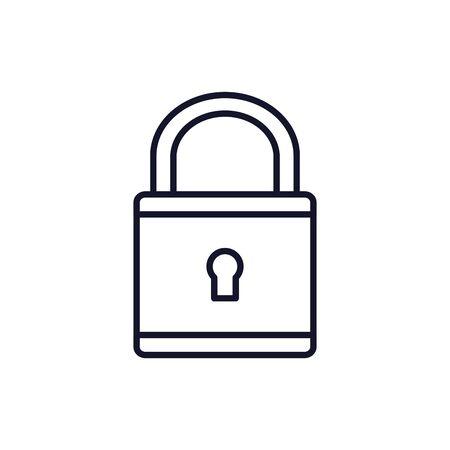 Isolated padlock icon line vector design Çizim
