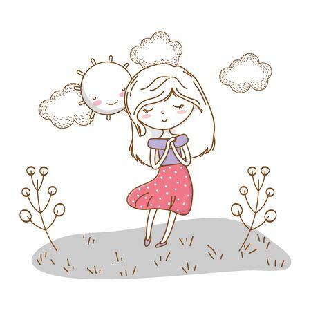 かわいい女の子の漫画スタイリッシュな衣装ドレスの自然晴れた背景